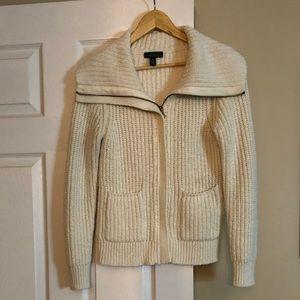 Ralph Lauren Jeans Ivory Zip Up Sweater - Size M